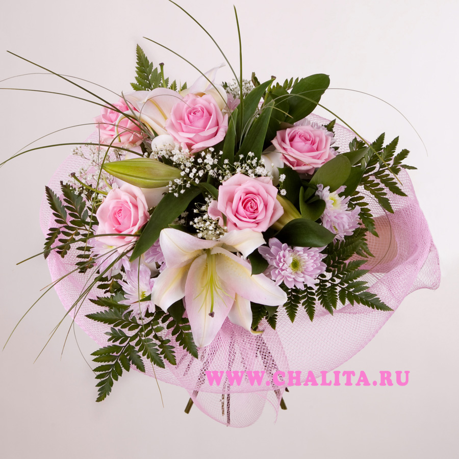Bouquet Pink Mood Bouquet Of Lilies Roses And Chrysanthemums