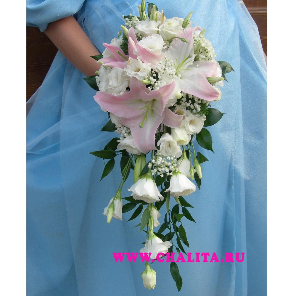 Свадебный букет с лилии каскадом фото — img 14
