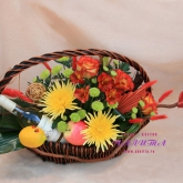 Flower Arrangement with fruit and other decorative elements Price: 78 USD