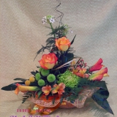 An arrangement of roses, callas, ornithogalums, chrysanthemums and other flowers. Price: 61 USD