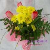 A bouquet of tulips, spray chrysanthemum with assorted greenery. Price: 22 USD