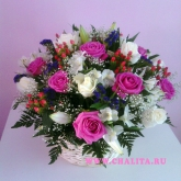 Basket of 19 roses with pink and white and many other colors. Price: 122 USD