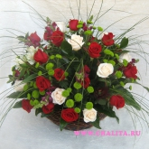 Basket of 35 red and white roses, set flowers and greenery. Price: 166 USD