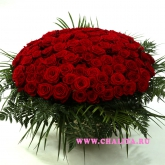Basket of 101 (51) red roses and greens Price: 286 USD