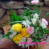 A small arrangement of roses, chrysanthemum and spray carnations. Price: 24 USD