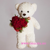 Big teddy bear and a small bouquet of roses in a heart-shaped Price: 85 USD