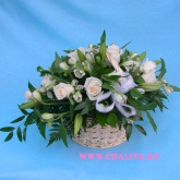 Basket of roses, lilies and alstroemerias in white and green colors Price: 103 USD