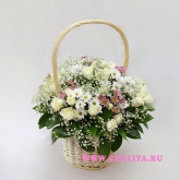 Basket shrub roses and chrysanthemums in gentle tones. Price: 68 USD