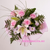 Bouquet of lilies, roses and chrysanthemums. Price: 42 USD