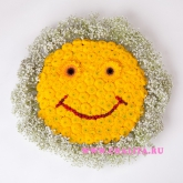 Arrangement of chrysanthemums as emoticon «smile». Price: 61 USD