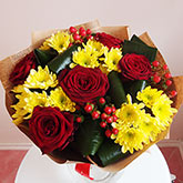 Bouquet of roses, chrysanthemums and hypericum. Price: 47 USD
