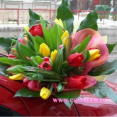 A bouquet of 19 tulips of different colours decorated with pastes. Price: 47 USD