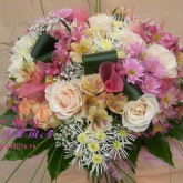 A  delicate bouquet of two kinds of roses, alstroemeria and many other flowers. Price: 69 USD