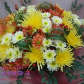 A bouquet of chrysanthemums with hypericum and assorted greenery. Price: 61 USD