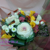 A bouquet of brassica, callas, chrysanthemums and assorted greenery Price: 75 USD