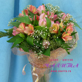 A bouquet of alstroemeria and greenery.Price: 30 USD