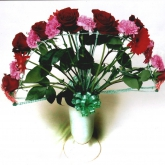 A bouquet on a frame-work in the shape of a fan. Price: 46 USD