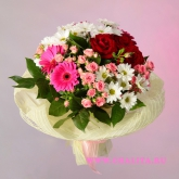 Bouquet of roses, gerberas and chrysanthemums. Price: 46 USD