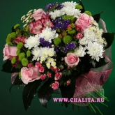 Bouquet of roses, chrysanthemums, alstroemerias, statice and buplerum. Price: 63 USD