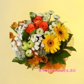 A bouquet of roses and gerbera with addition of other flowers and decorative greenery. Price: 46 USD
