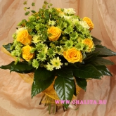A bouquet of yellow roses, chrysanthemum and buplerum. Price: 69 USD