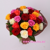Bouquet of 25 multi-coloured roses. Price: 91 USD
