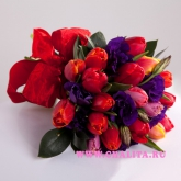 Bouquet of 19 colorful tulips and Lisianthus Price: 47 USD