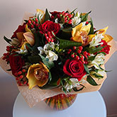 Bouquet of roses, orchids and other greens Price: 60 USD