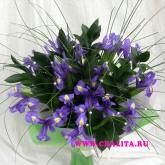 A bouquet of irises and assorted greenery. Price: 53 USD
