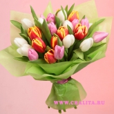 Bouquet of 25 mulricolored tulips. Price: 55 USD