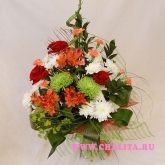 Bouquet of roses, chrysanthemum, alstroemeria, other flowers and greenery.Price: 50 USD