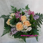 A round-shaped bouquet of roses, orchids, alstroemeria and lilac. Price: 77 USD