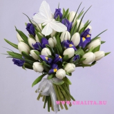 Bouquet of white tulips and blue irises. Price: 61 USD