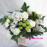 A bouquet of roses, lilac, lisianthus, chrysanthemum and alstroemeria. Price: 69 USD