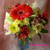 A round-shaped mini-bouquet of bright colours. Price: 27 USD