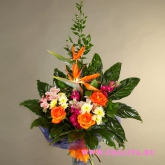 Bouquet of strelitzia, roses and many other flowers and greenery. Price: 85 USD