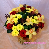 A round-shaped bouquet of roses, orchids, chrysanthemums and leucadendrons.  Price: 69 USD