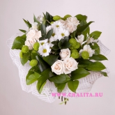 Bouquet of cream-colored roses, lilies, alstroemeria and greenery Price: 57 USD