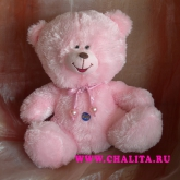 A pretty pink bear with a sound device. Price: 8 USD